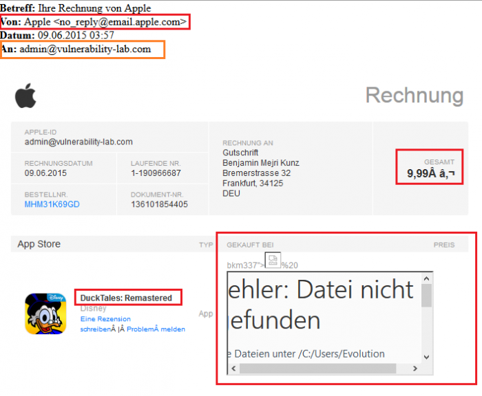 Apple iTunes & AppStore - (Invoice) Persistent Input Validation & Mail Encoding Web Vulnerability